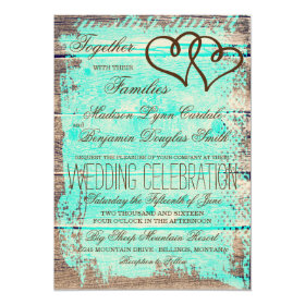 Rustic Double Hearts Aqua Wood Wedding Invites