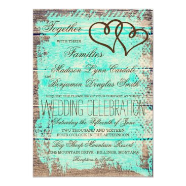 RusticCountryWedding Rustic Double Hearts Aqua Wood Wedding Invites