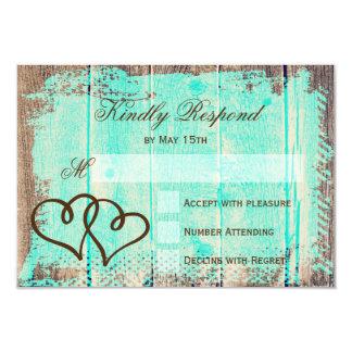 Rustic Double Hearts Aqua Wood Wedding RSVP Cards