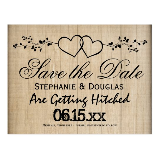 Free Electronic Wedding Invitations Templates: Rustic Double Hearts Save The Date Postcards