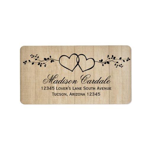 rustic double hearts wedding address labels zazzle