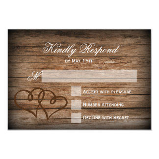 Rustic Double Hearts Wood Wedding RSVP Cards