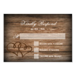 """Rustic Double Hearts Wood Wedding RSVP Cards 3.5"""" X 5"""" Invitation Card"""
