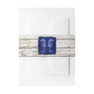 rustic drift wood vintage blue seahorse wedding invitation belly band