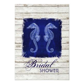 rustic drift wood vintage seahorse bridal shower card