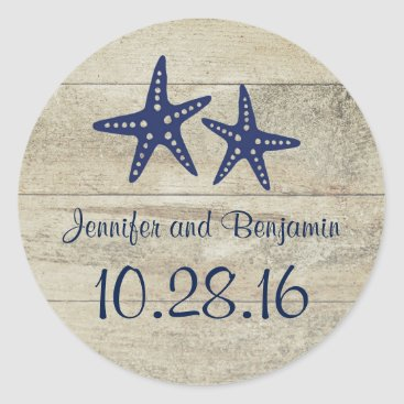 jinaiji Rustic Driftwood Nautical Beach Navy Starfish Classic Round Sticker