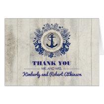 Rustic Driftwood Nautical Beach Wedding Thank You