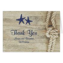 Rustic Driftwood Nautical Beach Wedding Thank You Card
