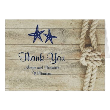 jinaiji Rustic Driftwood Nautical Beach Wedding Thank You Card