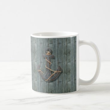 Beach Themed Rustic driftwood Teal Beach Wood nautical anchor Coffee Mug