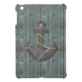 Rustic driftwood Teal Beach Wood nautical anchor Cover For The iPad Mini