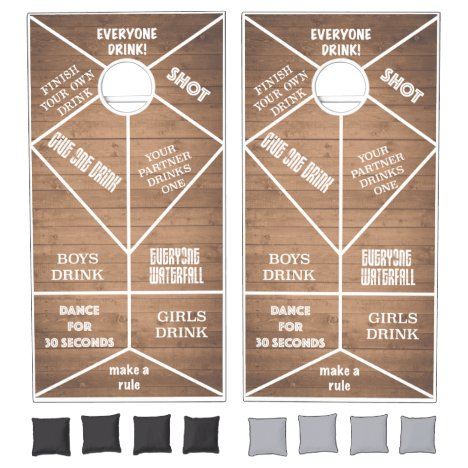 Rustic Drinking Game Barnwood Cornhole Set