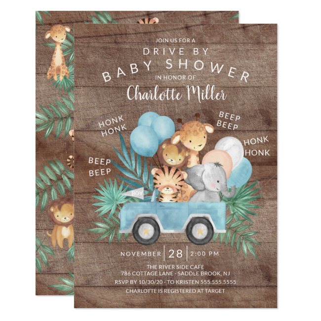 Rustic Drive By Jungle Animals Boys Baby Shower Invitation