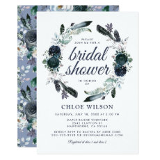 Rustic Dusty Blue Floral Bridal Shower Invitation