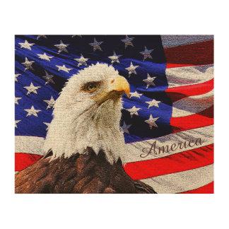Rustic Eagle and American Flag Wooden Wall Art Wood Wall Art