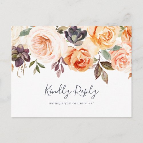 Rustic Earth Florals Song Request RSVP Postcard