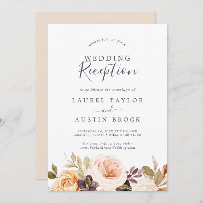 Rustic Earth Florals Wedding Reception Invitation