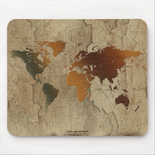 Rustic Earth Map of The World Arty Mousepad