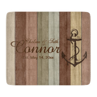 Rustic Earth tone Wood Nautical Stripes & Anchor Cutting Board