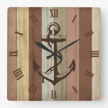 Beach Themed Rustic Earth Tone Wood Nautical Stripes & Anchor Square Wall Clock