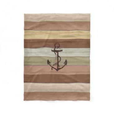 Beach Themed Rustic Earth Tones Wood Nautical Stripes & Anchor Fleece Blanket