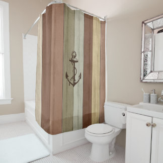 Rustic Earth Tones Wood Nautical Stripes U0026amp; Anchor Shower Curtain