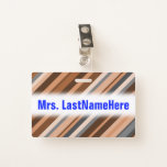 [ Thumbnail: Rustic, Earthy Brown, Beige and Grey Stripes Badge ]