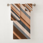 [ Thumbnail: Rustic, Earthy Brown, Beige and Grey Stripes Bath Towel Set ]