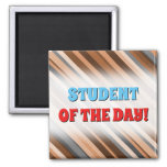 [ Thumbnail: Rustic/Earthy Brown, Beige and Grey Stripes Magnet ]