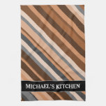[ Thumbnail: Rustic, Earthy Brown, Beige and Grey Stripes; Name Kitchen Towel ]