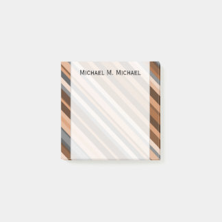 Rustic, Earthy Brown, Beige and Grey Stripes; Name Post-it Notes