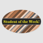 [ Thumbnail: Rustic, Earthy Brown, Beige and Grey Stripes Sticker ]