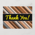 [ Thumbnail: Rustic, Earthy Brown, Beige and Grey Stripes Postcard ]