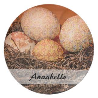 Rustic Easter eggs in nest Dinner Plate