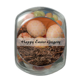Rustic Easter eggs in nest Glass Candy Jar