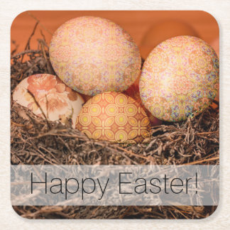 Rustic Easter eggs in nest Square Paper Coaster