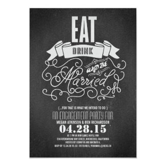 Rustic eat drink and be married engagement party card