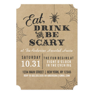 Rustic Eat Drink and Be Scary Halloween Party Card