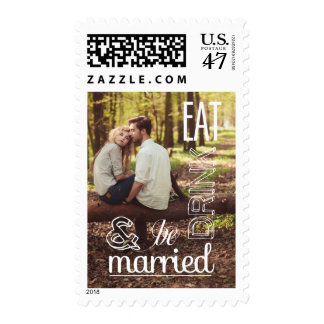 Rustic Eat Drink & Be Married Photo Postage Stamp