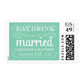 Rustic Eat Drink be Married Wedding Postage