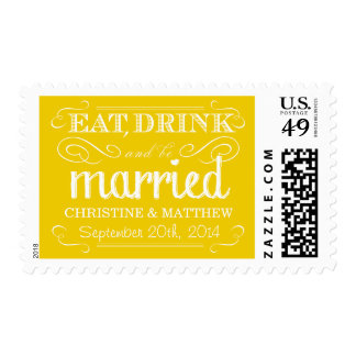 Rustic Eat Drink be Married Wedding Postage