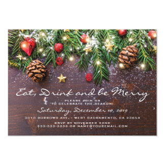 Rustic Eat Drink & be Merry Xmas Holiday Party Card
