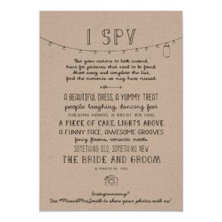Rustic Editable Instagram Wedding I Spy Game Card