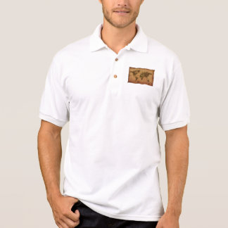 Rustic-effect Textured WORLD MAP Polo Shirt