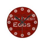 Rustic Eggs Sign Wall Clock