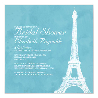 "Rustic Eiffel Tower Bridal Shower Invitations 5.25"" Square Invitation Card"