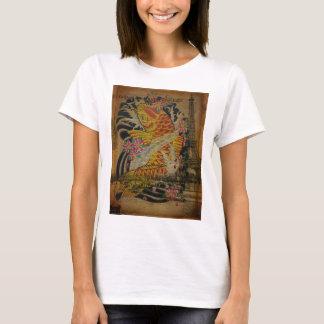 rustic eiffel tower japanese tattoo koi fish T-Shirt