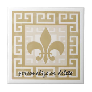 Rustic Elegance Fleur de Lis Greek Key Pattern Tile