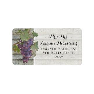 Rustic Elegance Red Wine Grapes Wood Wedding Label