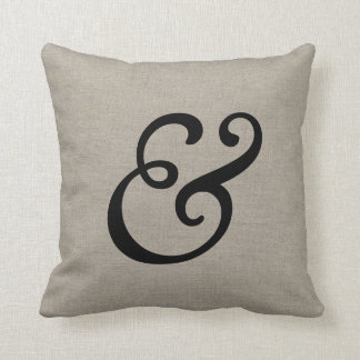 Rustic Elegant Ampersand Throw Pillow